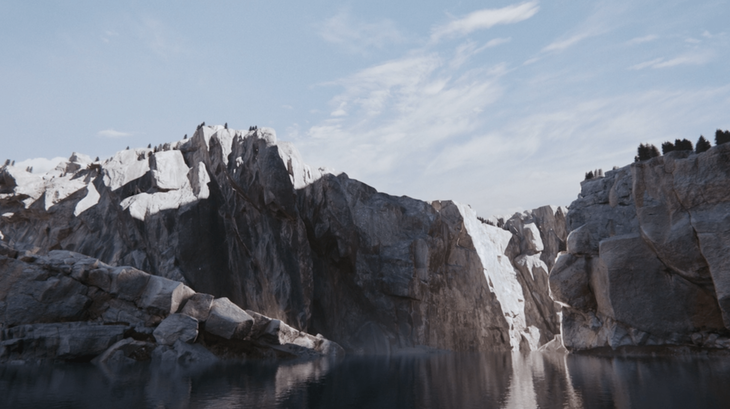 River cliffs and light CGI