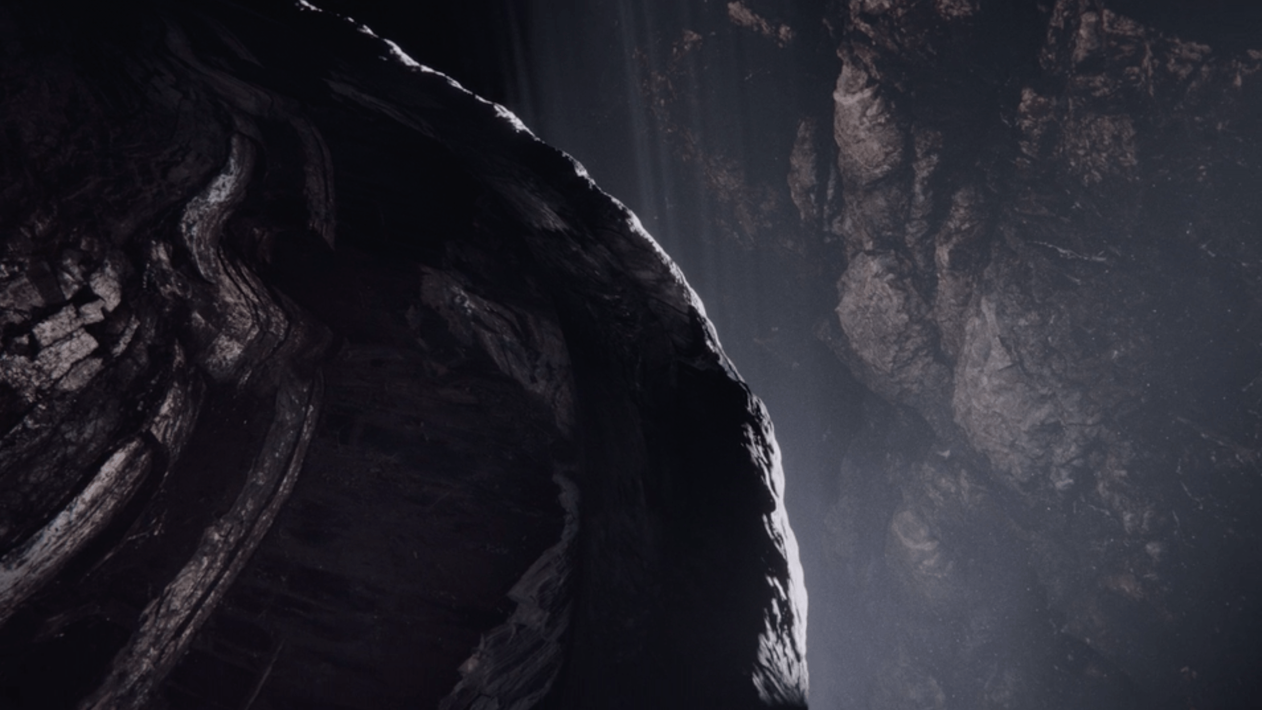 VFX dark cliffs revealing light