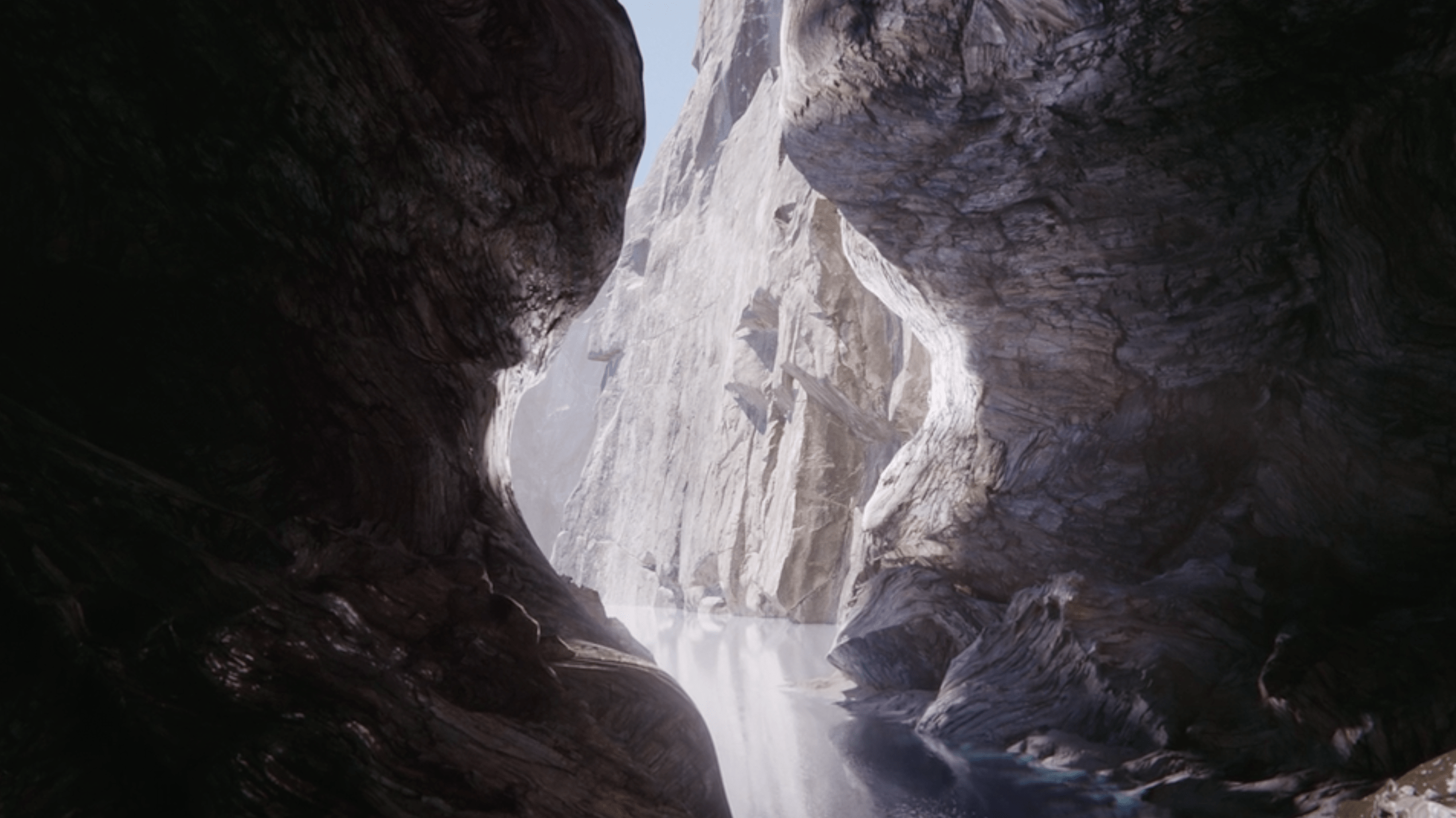 Deep dark gorge illuminating representing honesty and transparency VFX
