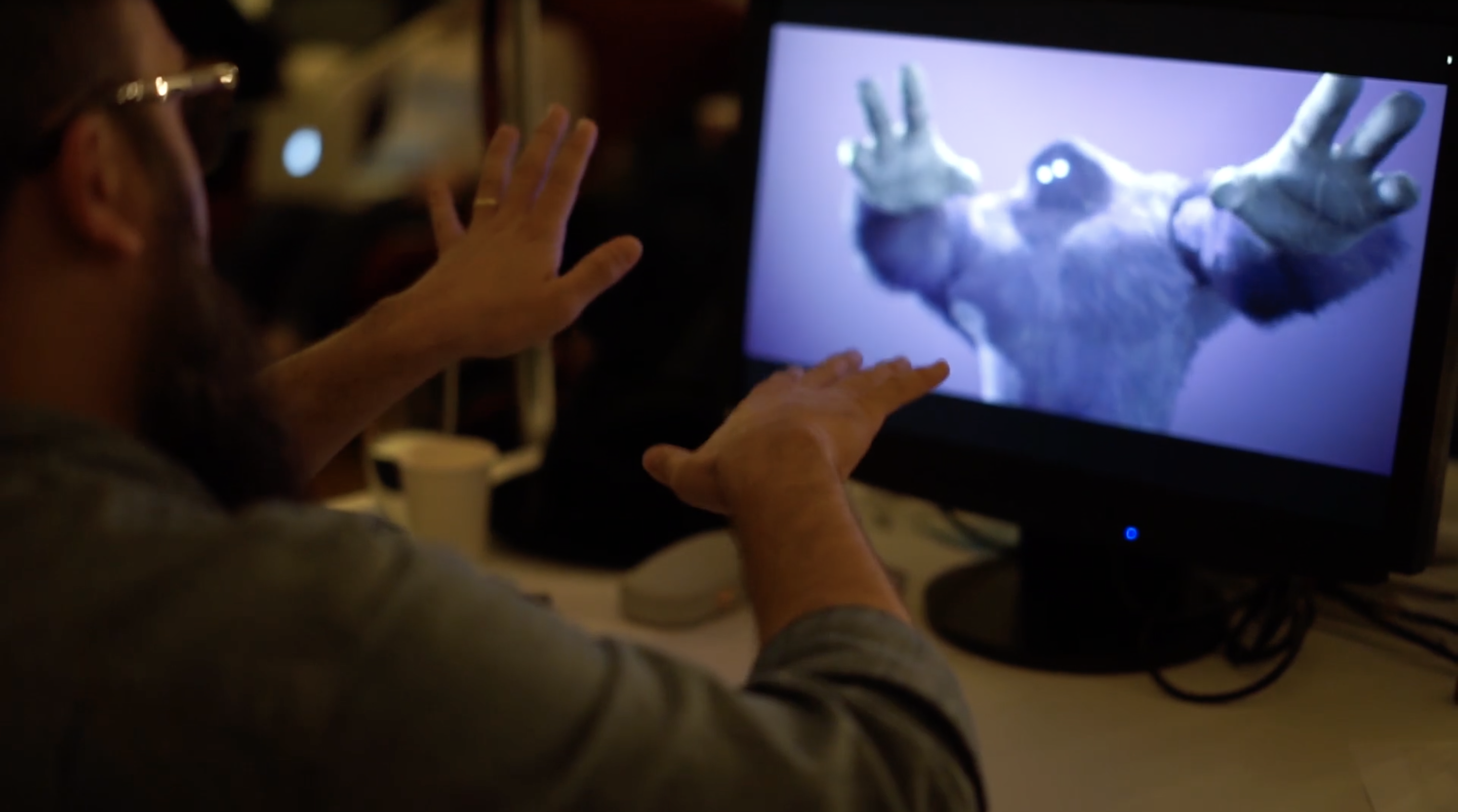 Using hand gestures in virtual production